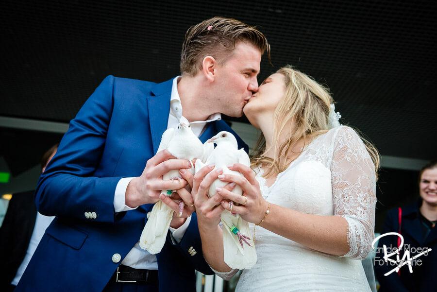 Tortelduiven bruidspaar trouwfotograaf Stadhuis Eindhoven