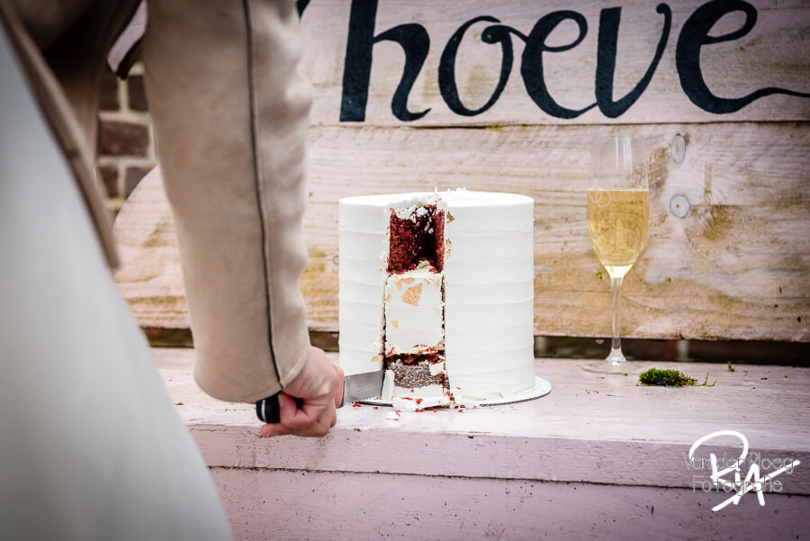 Fotograaf huwelijk kasteelhoeve Eindhoven bruidstaart